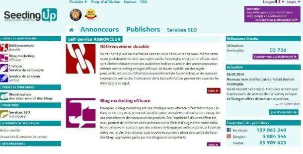 Page d'accueil du nouveau domaine de Teliad, Seeding Up