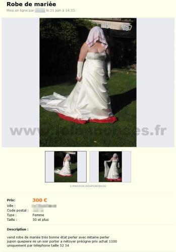 Robe de mariée en vente sur Le Bon Coin